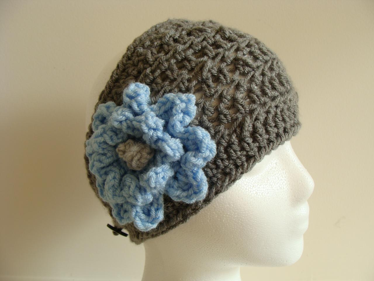 Crochet Head Warmer Charcoal and Sky Blue Do Bob Diva