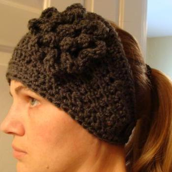 Crochet Head Warmer Charcoal Grey Do Bop Diva